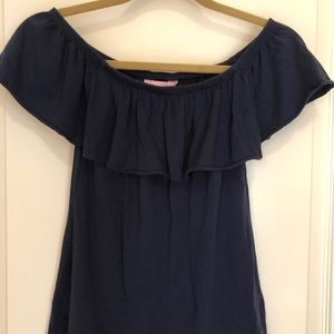 Lilly Pulitzer navy off the shoulder top